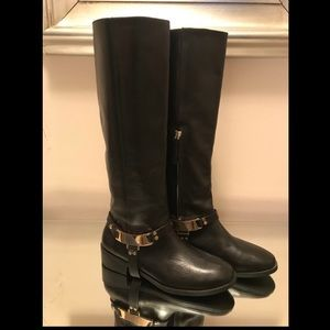 Zara black leather boots size 38 (US 8)